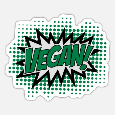 Explosion Vegan, Comic Book Style, Green, Explosion, 3c - Sticker
