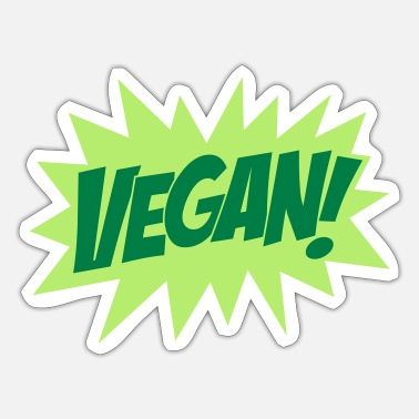 Explosion Vegan, Comic Book Style, Green, Explosion, - Sticker
