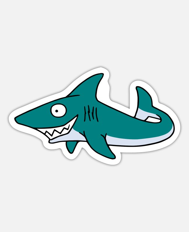 Nature Stickers - grinning Shark - Sticker white mat