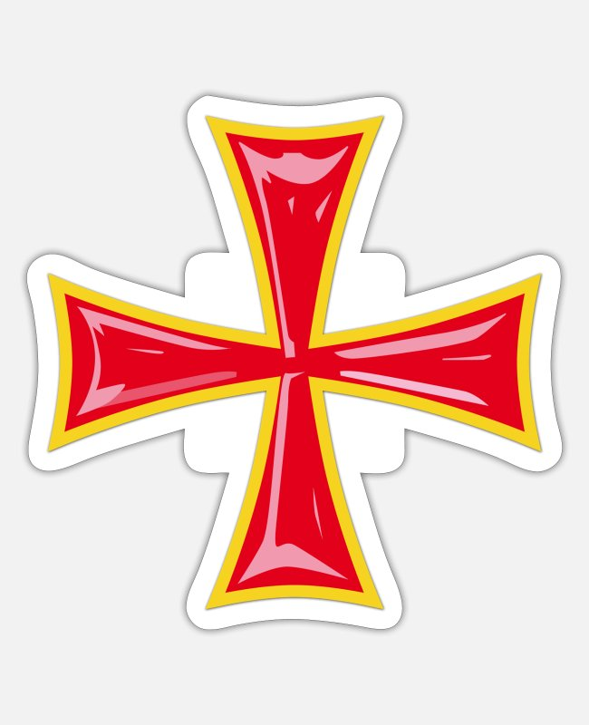 Crusades Stickers - Knight's Cross / Knights Cross red-yellow - Sticker white matte