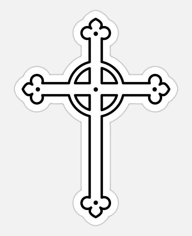 Baptism Stickers - Cross Cross 1c - Sticker white matte