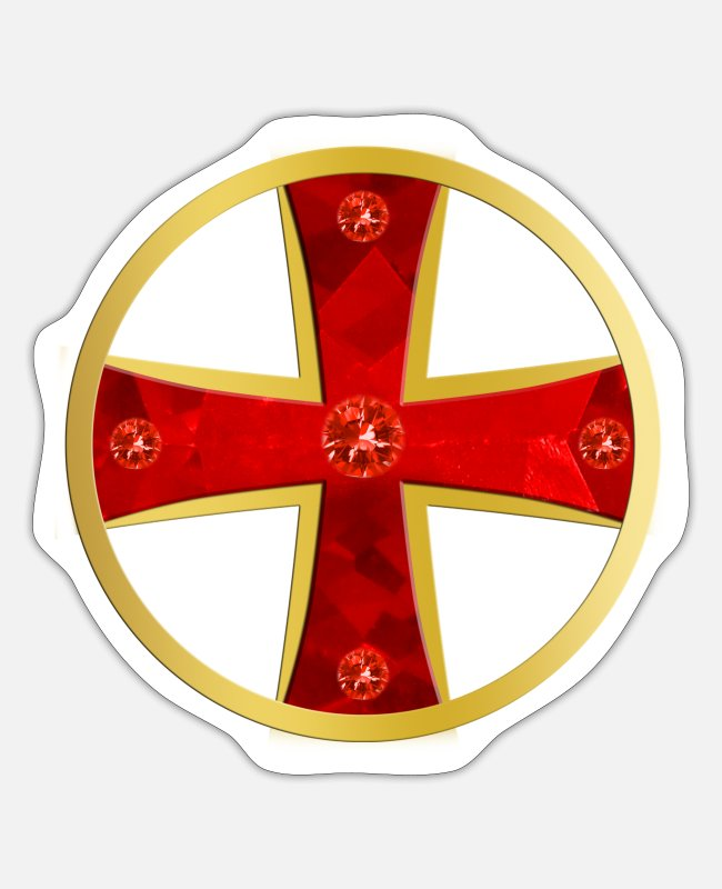Crusades Stickers - Templar Cross Gold + Gems - Sticker white matte