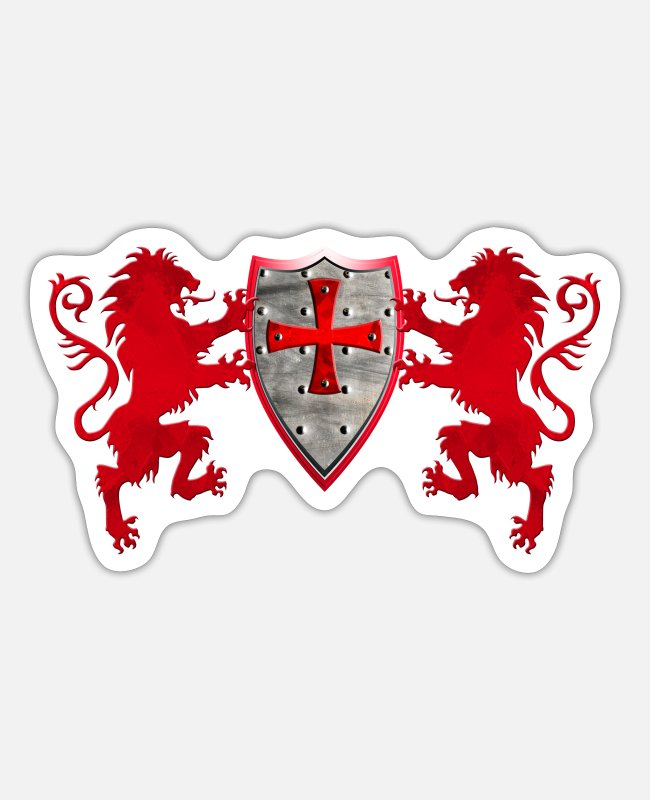 Crusades Stickers - Loewen with the Knight's shield - Sticker white matte