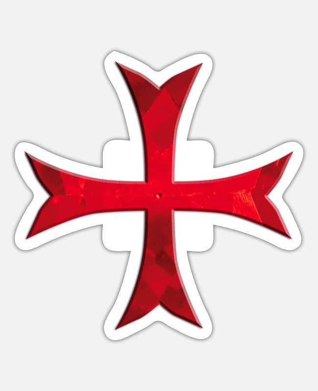 Crusades Stickers - Templar Cross simply red - Sticker white matte