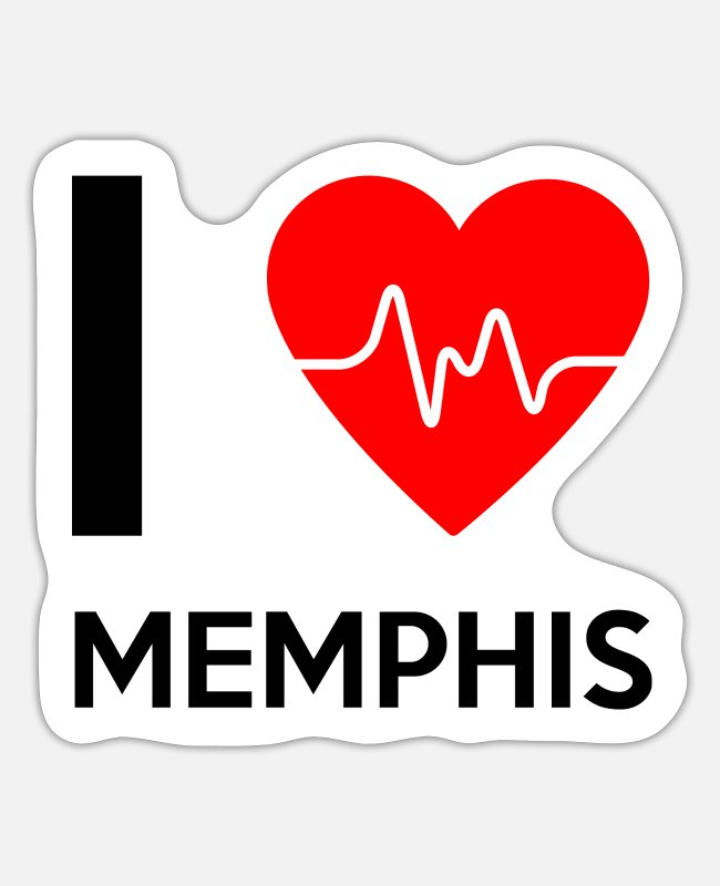 Tourism Stickers - I Love Memphis - I Love Memphis - Sticker white matte