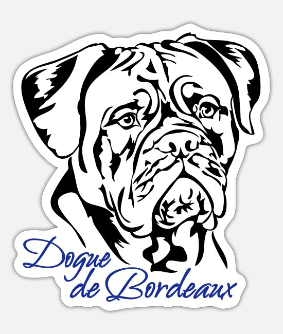 Dog Owner Stickers - Dogue de Bordeaux canine dog Wilsigns mastiff - Sticker white mat