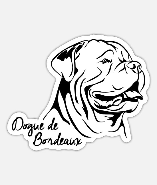 Dog Owner Stickers - DOGUE DE BORDEAUX Dog Wilsigns - Sticker white mat