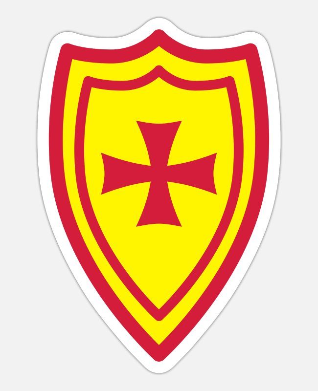 Knight's Cross Stickers - Knight Shield Cross Armor Red Gold 2c - Sticker white matte
