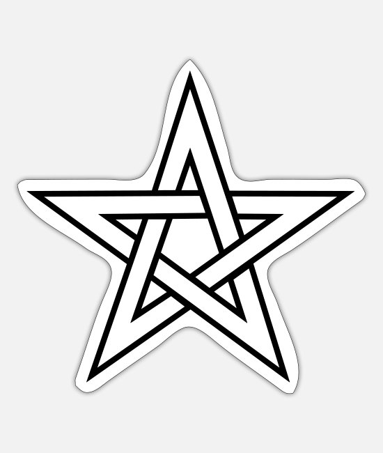 Warrior Stickers - Pentagram, pentacle, magic, symbol, witchcraft, - Sticker white mat