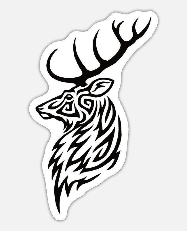 Stag Stickers - Tribal Stag - Sticker white mat