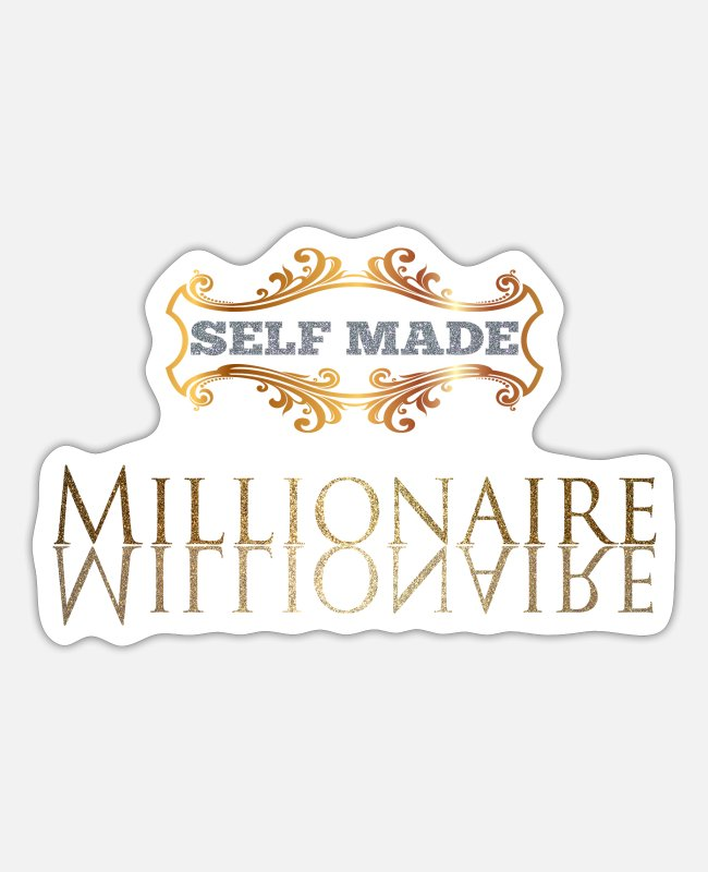 Gold Sticker - Self Made Millionaire Gold Geschenk - Sticker Mattweiß