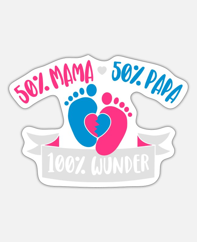 Pregnancy Stickers - 50% Mommy 50% Daddy of 100% miracle - Sticker white mat