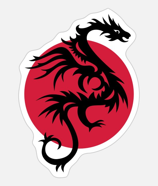 Design Stickers - DRAGON SUN - Sticker white mat