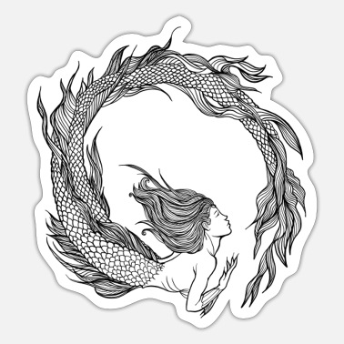 Mythical Collection V2 Mermaid - Mermaid - black - Sticker