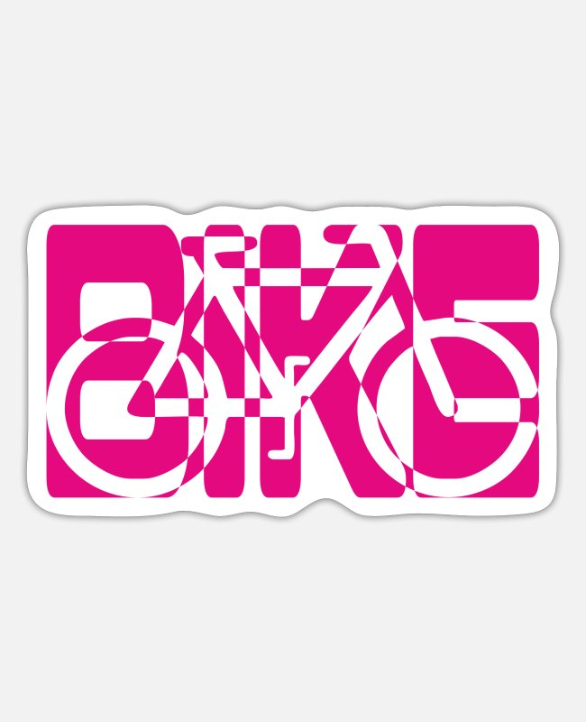 Road Bike Stickers - bike combined pictogram bicycle pink - Sticker white mat