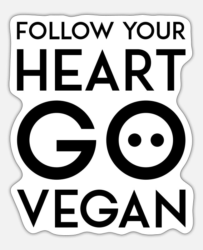 Nature Stickers - FOLLOW YOUR HEART GO VEGAN black - Sticker white mat