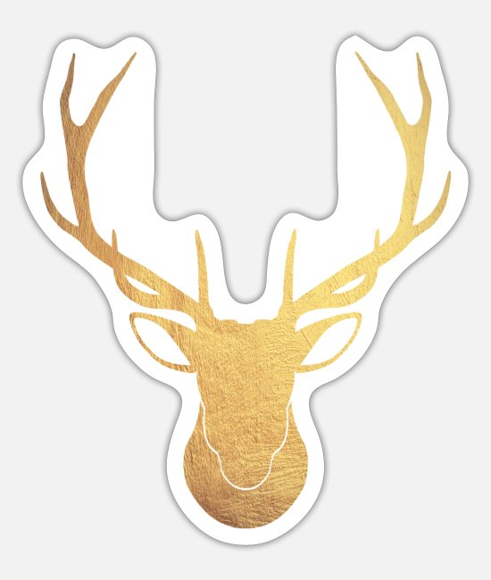 Stag Stickers - Golden stag - Sticker white mat