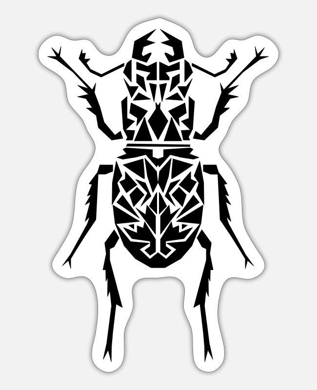 Black Metal Stickers - stag beetle - Sticker white mat