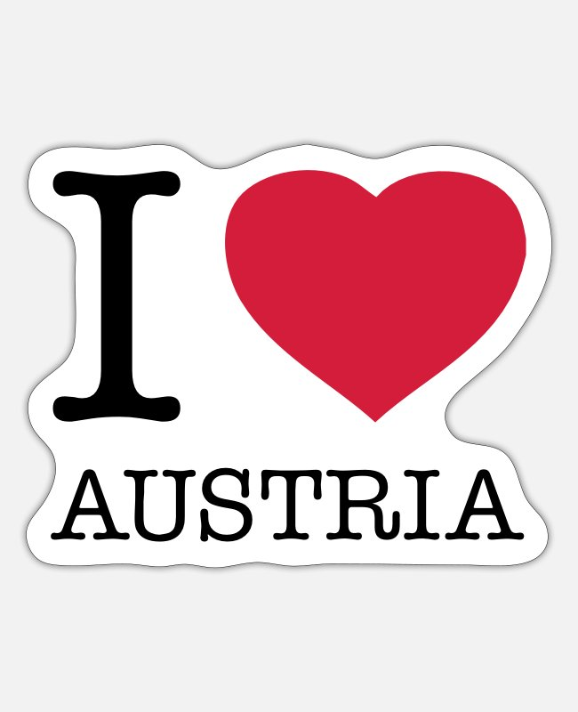 Heart Stickers - I LOVE AUSTRIA - Sticker white matte