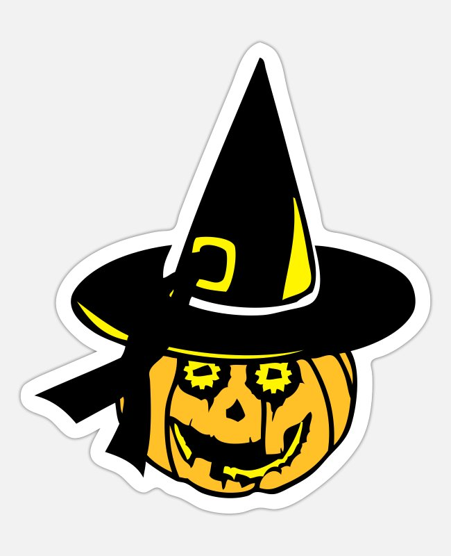 Fear Stickers - pumpkin witch hat 15 - Sticker white matte