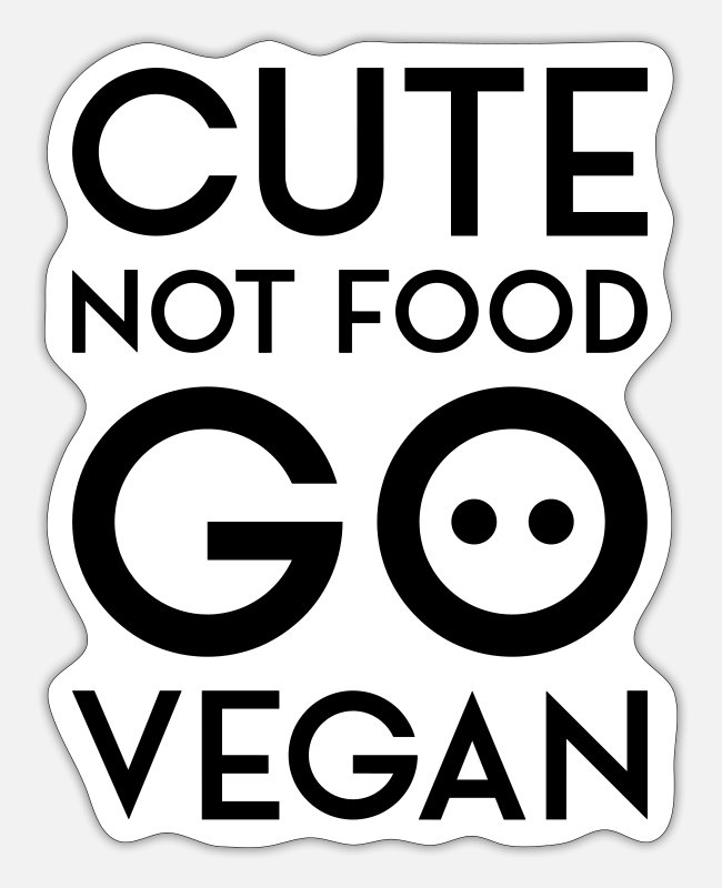 Hog Stickers - CUTE NOT FOOD GO VEGAN black - Sticker white mat