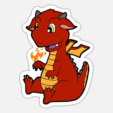 Kindershirt Tiermotiv Feuerspeiender Drache; Kindershirt - Sticker