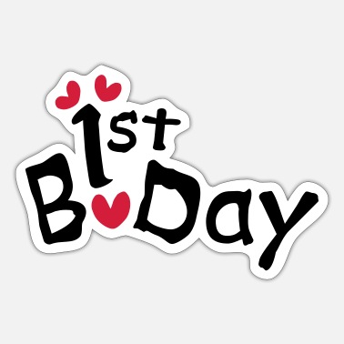 Bday 1st BDay txt hearts - Sticker