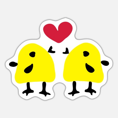 Animal Underwear yellow_bird_& hearts - Sticker
