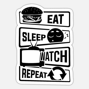 Tv Eat Sleep Watch Repeat - Programas de TV Couch TV - Pegatina