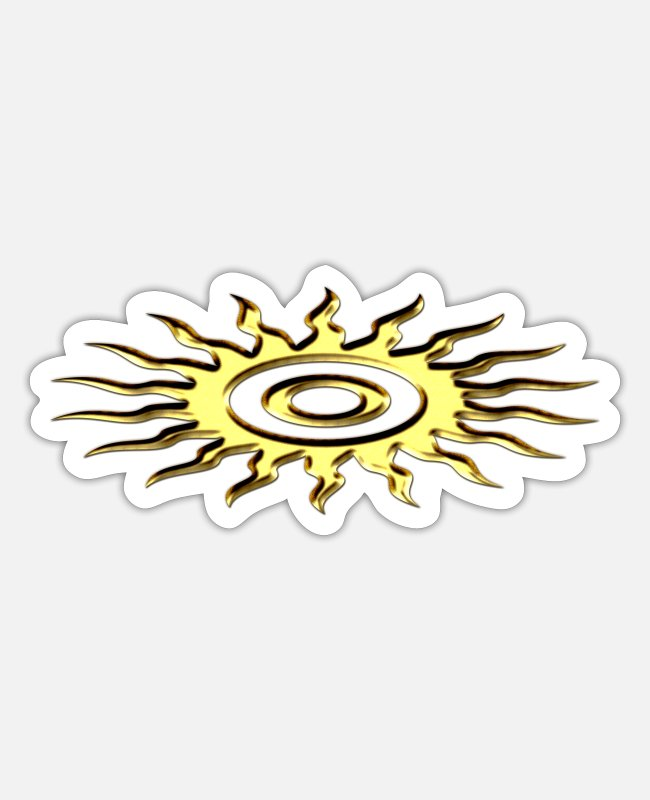 Esoterism Stickers - Sun symbol, digital, gold - Sticker white matte
