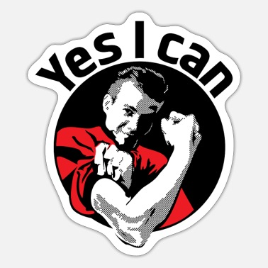 Vintagecontest Yes I can black - Sticker