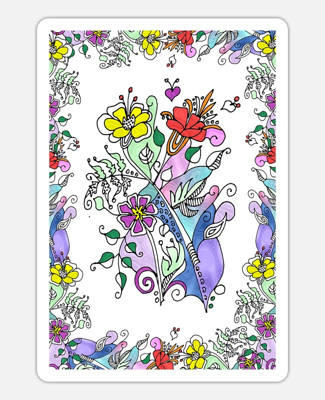 Nature Stickers - Colorful flowers - Sticker white mat