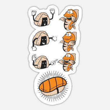 Evolution Fish Sushi Evolution Funny Fish Rice Association - Sticker