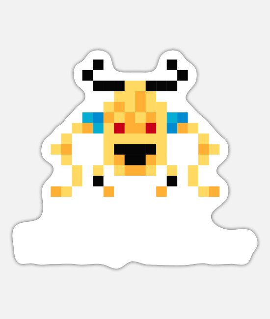 Video Game Stickers - 8-Bit Monster (Friendly Monster) - Sticker white mat