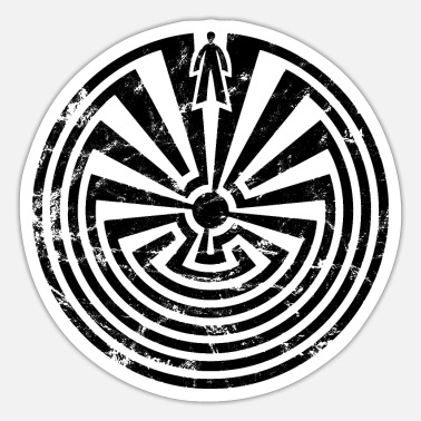 Traumfänger Vintage Man in Maze Indianer Symbol Labyrinth - Sticker