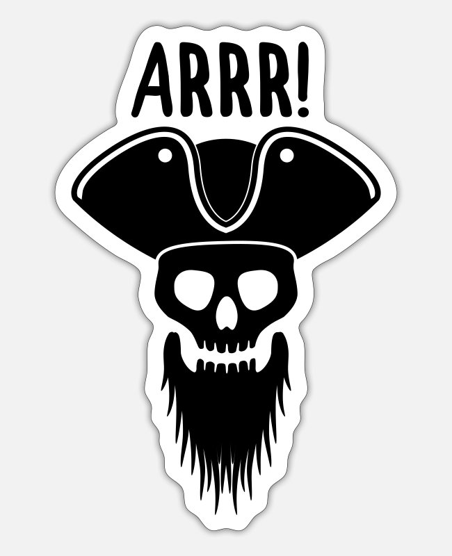 Beard Stickers - Pirate skull - Sticker white matte