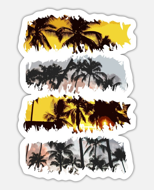 Sunset Stickers - Palm trees - Sticker white matte