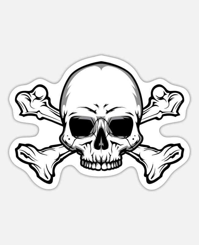 Pirate Flag Stickers - Skull with bones - Sticker white matte