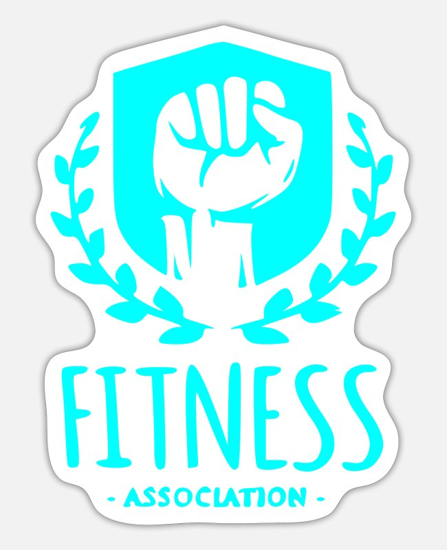Bless You Stickers - Fitness Association, fist with wreath turquoise - Sticker white mat