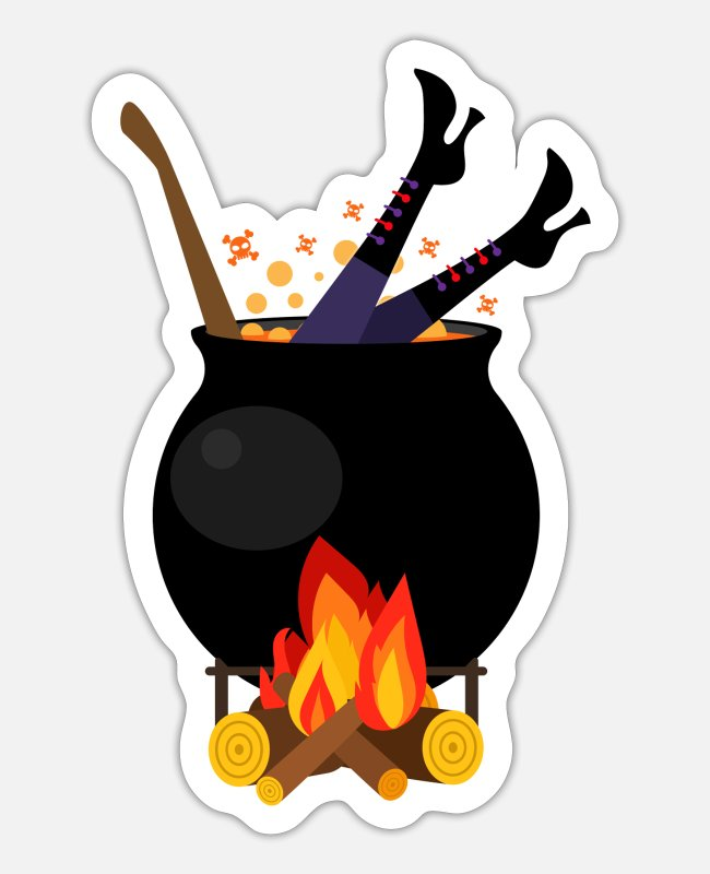 Kostuum Stickers - Heks in steelpan - Halloween koken brandhout - Sticker mat wit