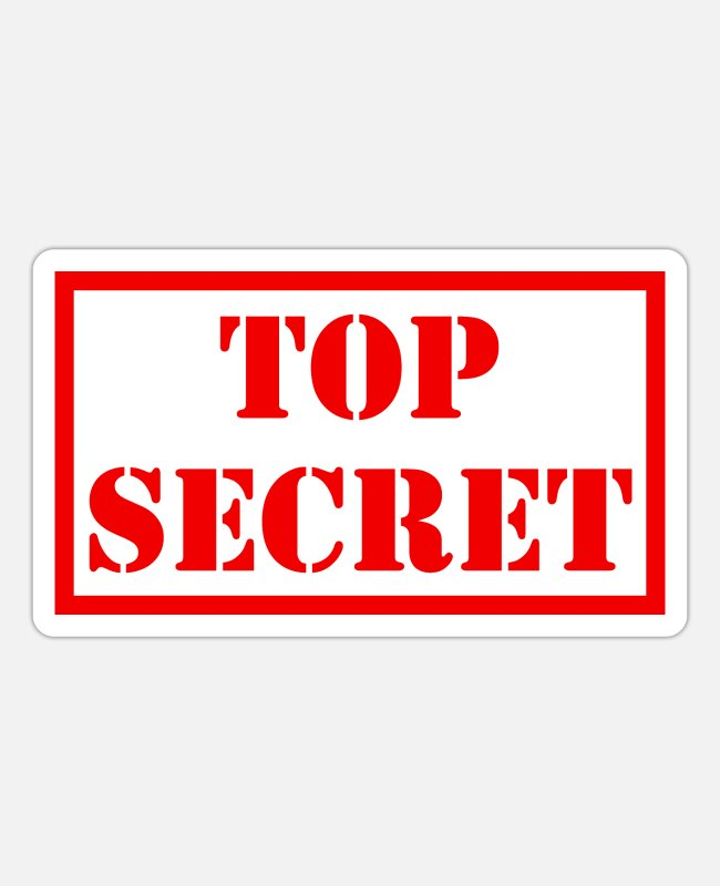 Secret Sticker - Top Secret - Sticker Mattweiß