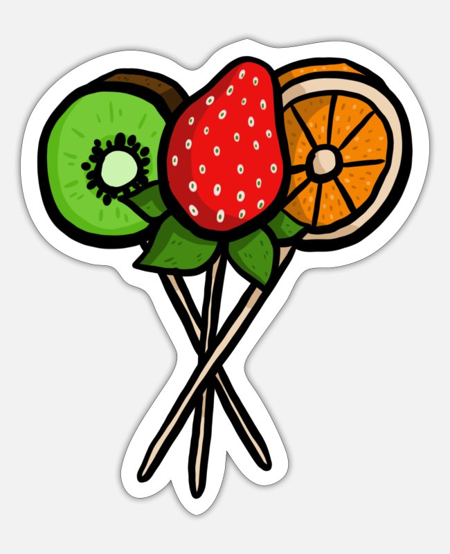 Kiwi Stickers - Fruit pops - Sticker white matte