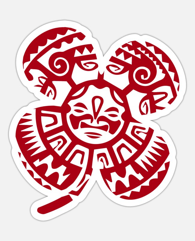 Travel Stickers - Maori Tiki four leaf clover tribal - gift idea - Sticker white mat