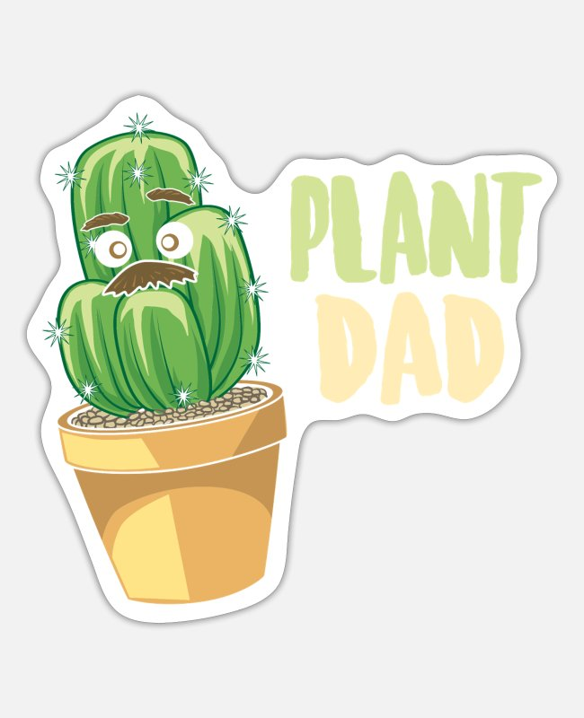 Pregnancy Stickers - Plant Dad Gifts Funny succulent cactus - Sticker white mat