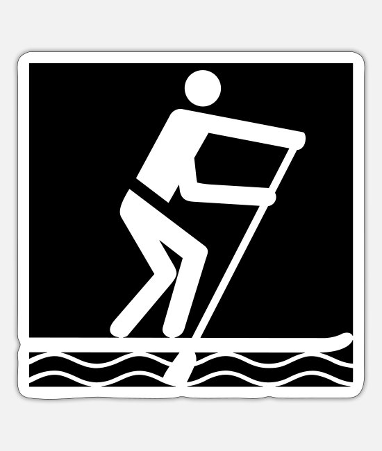 Aquatics Stickers - sup pictogram outside - Sticker white mat