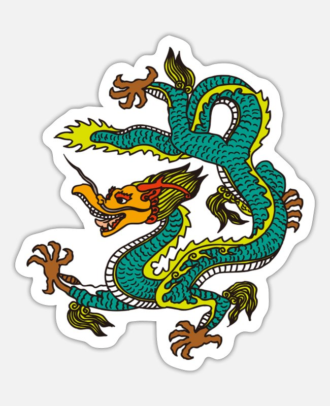 Fairy Tale Figure Stickers - Mythical Creature Dragon Maerchen Asia Mythology Dragon - Sticker white mat