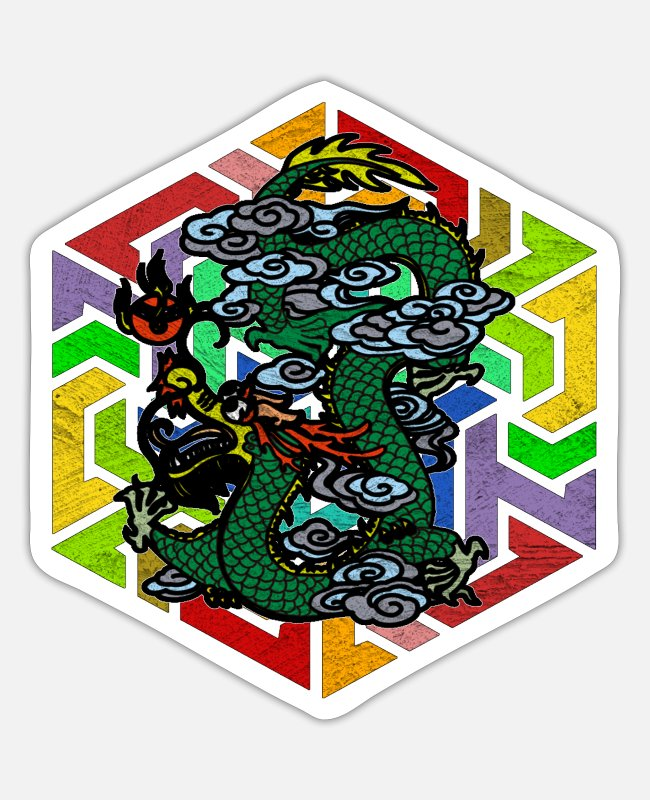 Fairy Tale Figure Stickers - Mythical creatures Dragon Mythology Asia Maerchen Dragon - Sticker white mat