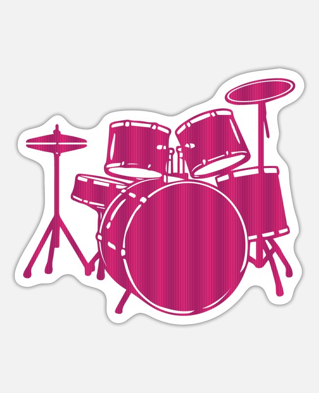 Drummer Stickers - Drums, Drum Set - Drummer Gift Idea - Sticker white mat
