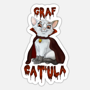 Greve Grev Cat'ula - Halloween Cat | YOLO Artwork - Sticker