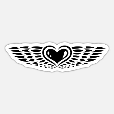 Wings Wedding Romance Heart with wings. Winged heart. - Sticker